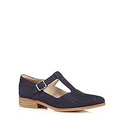 Clarks - Navy 'Hotel Vibe' suede punched flat shoes