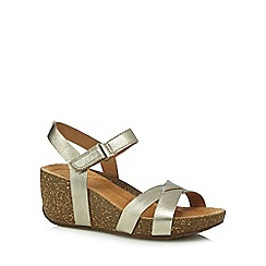 Clarks - Gold 'Temira Compass' high wedge sandals