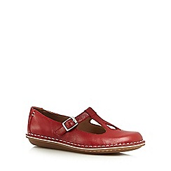 Clarks - Red 'Tustin Talent' leather cut-out flat shoes