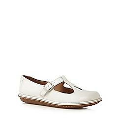 Clarks - White 'Tustin Talent' leather cut-out flat shoes