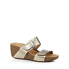 Clarks - Gold 'Temira East' wedge sandals