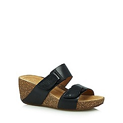 Clarks - Black 'Temira East' wedge sandals