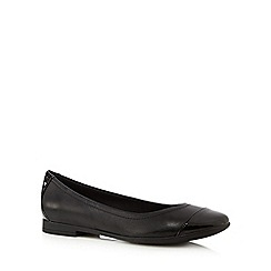 Clarks - Black 'Atomic Haze' leather patent toe slip-on shoes