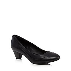 Clarks - Black leather 'Denny Harbour' mid block heel court shoes