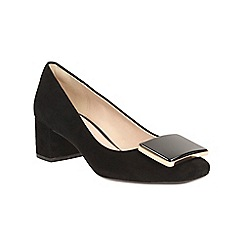Clarks - Black suede Chinaberry Fun block heel court shoe