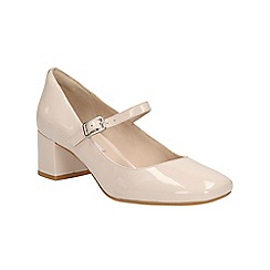 Clarks - Nude pink patent Chinaberry Pop buckle strap block heeled shoe