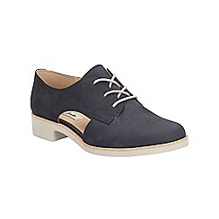 Clarks - Navy nubuck Hamble Myth cut out detail lace up brogue