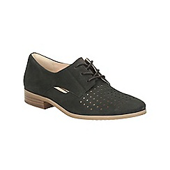 Clarks - Black nubuck Hotel Molly cut out detail lace up shoe
