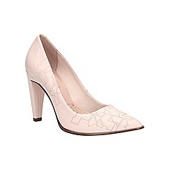 Clarks - Nude pink patent Azizi Poppy tapered heel court shoe