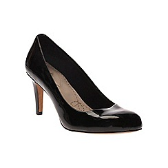 Clarks - Black patent combi Carlita Cove slip on court shoe
