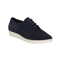 Clarks - Navy suede Evie Bow lace up shoe