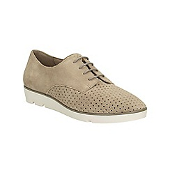Clarks - Sand suede Evie Bow lace up shoe