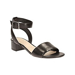 Clarks - Black leather Sharna Balcony ankle strap heeled sandal