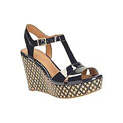 Clarks - Navy patent Amelia Roma t-bar wedge sandal