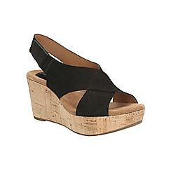 Clarks - Black nubuck Caslynn Shae platform wedge sandal