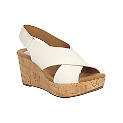 Clarks - White leather Caslynn Shae platform wedge sandal