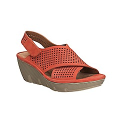 Clarks - Grenadine nubuck Clarene Award crossover wedge sandal