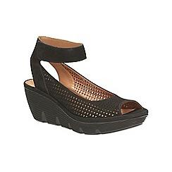 Clarks - Black nubuck Clarene Prima ankle strap wedge sandal