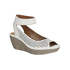 Clarks - White leather Clarene Prima ankle strap wedge sandal