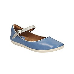 Clarks - Blue leather Feature Film ankle strap pump