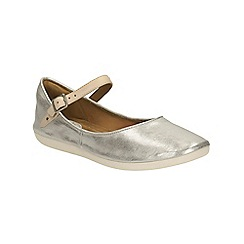 Clarks - Silver leather Feature Film ankle strap pump
