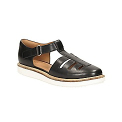 Clarks - Black leather Glick Delta riptape fishermans style sandal
