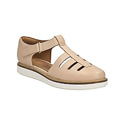 Clarks - Nude leather Glick Delta riptape fishermans style sandal