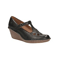 Clarks - Black leather Harlan Dance cut out petal detail t-bar wedge