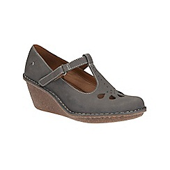 Clarks - Grey/Blue Harlan Dance cut out petal detail t-bar wedge