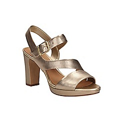 Clarks - Gold leather Jenness Soothe open toe slingback shoe