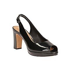 Clarks - Black patent Jenness Sound peep toe slingback shoe