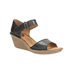 Clarks - Black leather Orient Sea wedge sandal