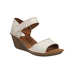 Clarks - White leather Orient Sea wedge sandal