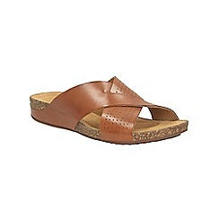 Clarks - Dark Tan leather Perri Cove mule strap sandals