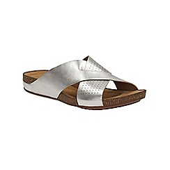 Clarks - Silver leather Perri Cove mule strap sandals