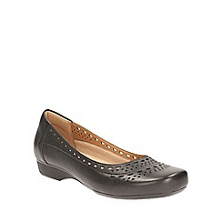 Clarks - Black leather Blanche Melody square toe slip on shoe