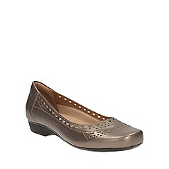 Clarks - Pewter leather Blanche Melody square toe slip on shoe