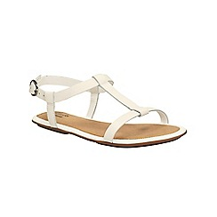 Clarks - White leather Risi Hop t-bar sandal