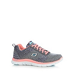 Skechers - Grey 'Tribeca' textured leopard print trainers