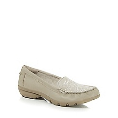 Skechers - Taupe leather 'Career Fab Advice' slip on shoes