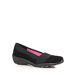 Skechers - Black 'Active' suede slip-on shoes