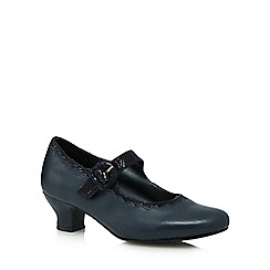 Hotter - Navy leather Mary Jane mid heel shoes