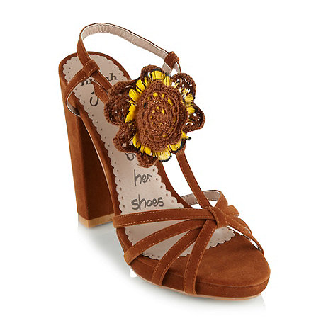 Killah - Tan flower corsage high heeled sandals
