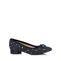 Clarks - Navy leather 'Elderberry Isla' ballet pumps