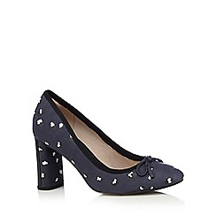 Clarks - Navy 'Idamarie Faye' high block heel court shoes