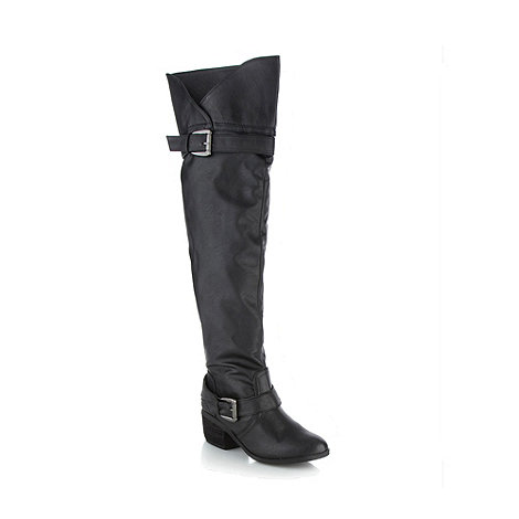 Call It Spring - Black +bargny+ ruched high leg boots
