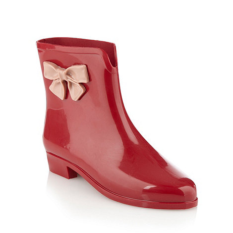 Mel - Red bow applique ankle wellies