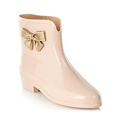 Mel - Cream bow side ankle wellies