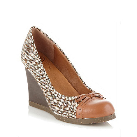 Scholl - Brown tweed wedge heeled shoes