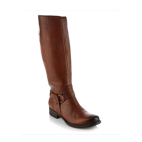 Clarks - Mortimer judi tan leather mid heel high leg boots